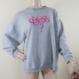 Vintage Guess Women's Gray Pullover Sweater